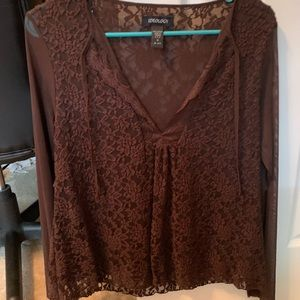 Women's lace & sheer long sleeve brown top small